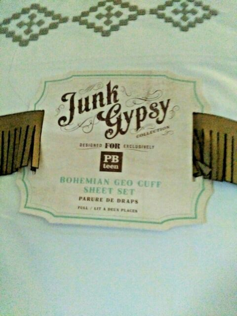 New Pottery Barn Teen Bohemian Geo Cuff Full Sheets Junk
