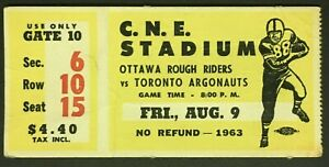 1963-C-N-E-Stadium-CFL-Season-Opener-Football-Ticket-Ottawa-vs-Toronto-Argos
