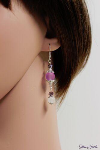 Glass Jewels plata aretes ohrhänger lila perlas vintage estilo elegante #c097