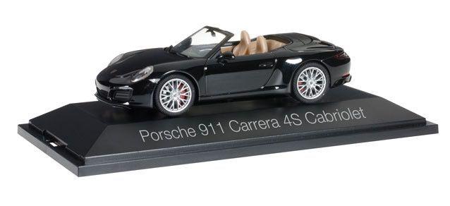 Herpa 071062 PORSCHE 911 CARRERA 4 S Cabriolet en noir 1 43 NOUVEAU & NEUF dans sa boîte