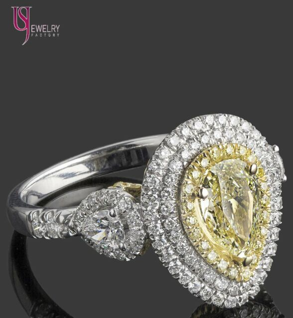 GIA 2.83ct Natural Light Yellow Pear Shaped Triple Halo Diamond Engagement Ring