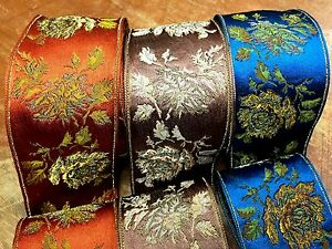 VINTAGE-1949-039-s-French-JACQUARD-1yd-Silk-Satin-Embroidered-Metallic