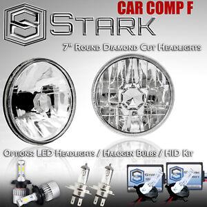 "H6024 Head Light Glass Housing Lamp Projector Conversion Chrome 7/"" Round PAIR"