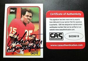 1988 Topps Christian Okoye CAS Cert Signed Autograph Chiefs RC with Inscription