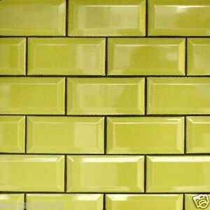 Image Is Loading LIME GREEN GLOSS METRO VICTORIAN BEVELLED BRICK KITCHEN