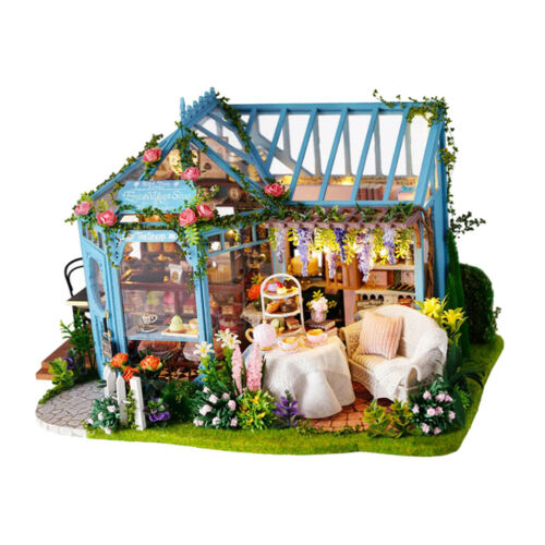 Cake Shop Tea House Kids Gift DIY Dollhouse Kit w// Furniture Music Assembly