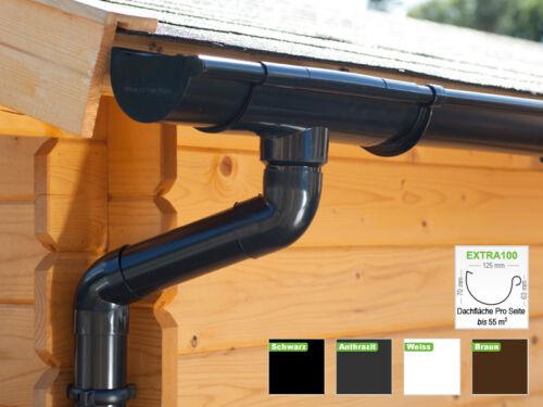 Extra100in 4 Farben! Regenrinnen 1 Dachseite DachrinnensetPultdach