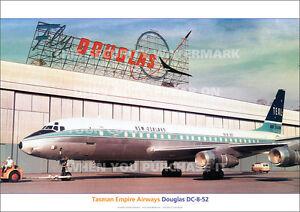 TEAL DOUGLAS DC-8 AT DOUGLAS PLANT DC8 A3 POSTER PRINT PICTURE PHOTO IMAGE