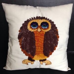 Decorative Embroidered Crewel Stitched Owl Cotton Linen Throw Pillow Ebay