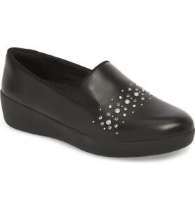 317c8c8fbf5 Women s Shoes Fitflop Audrey Pearl Stud Loafers M60-001 Black ...
