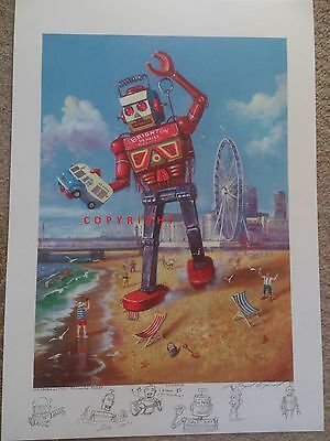 """Brighton Vehicle Recovery Robot"" - signed print by Raymond Campbell"