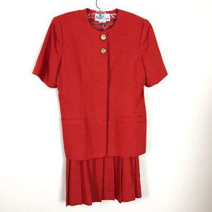 OLEG-CASSINI-VTG-Orange-2-Piece-Short-Sleeve-Jacket-Pleated-Skirt-Sz-12-EUC