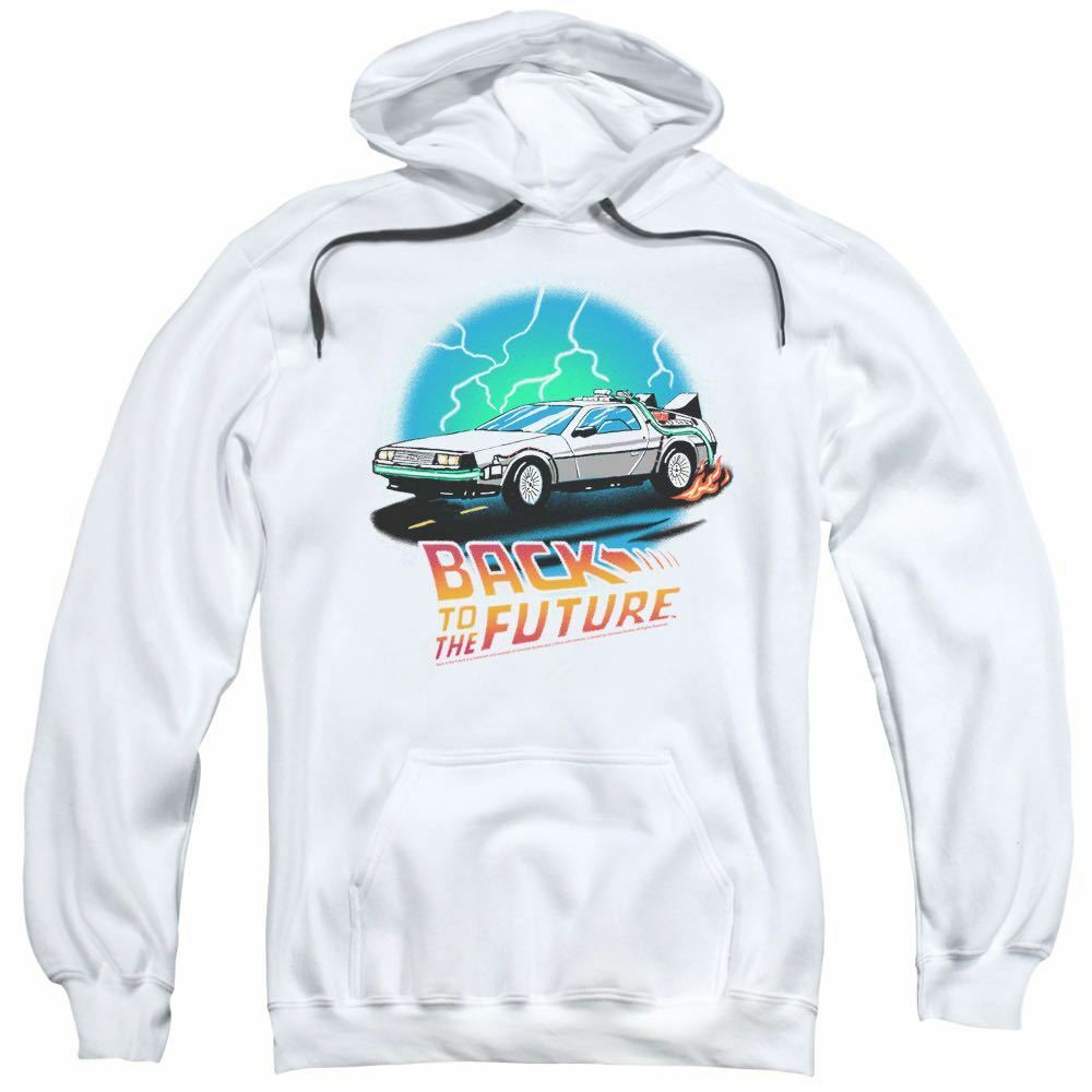 Back To The Future Movie Fleece Hoodie AirBrush 100% Weiß Cotton Größes SM - 2XL