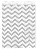 100 Flat Merchandise Paper Bags: 5 X 7, Silver Grey Chevron Stripes On White