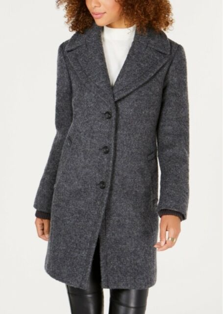 Vince Camuto Womens Shawl-Collar Textured Wool Over Coat Large Grey