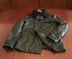 NWT-Ralph-Lauren-Black-Cowhide-Distressed-Leather-Jacket-Peacoat-Charcoal-Mens-M