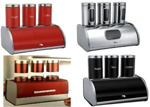 Bread-Bin-Set-With-Canister-Set-Tea-Coffee-Sugar-Jar-Pot-4-Pcs-Stainless-Steel