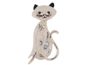 Cream-Black-Hand-Paint-Enamel-Rhinestone-Bowtie-Bobble-Head-Kitty-Cat-Pin-Brooch