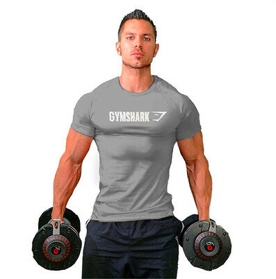 Gym Men's Cotton T-Shirt Tee Training Fitness Bodybuilding Muscle Shirt Gray XXL