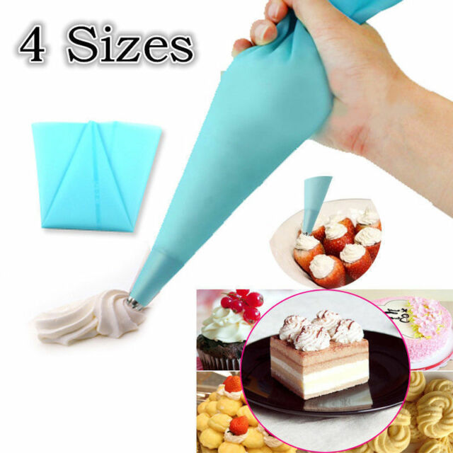 4 Sizes Silicone Icing Piping Bag Superflex Reusable Decorating Baking Tool