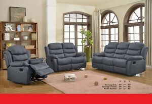 Motion Reclining Gray Bonded Leather Sofa Loveseat Chair Couch Relax