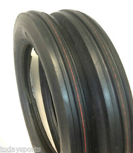 TWO-4-00-19-400-19-400x19-F-2-Tri-3-Rib-Front-Tractor-Tires-W-Tubes-FORD-8N-9N