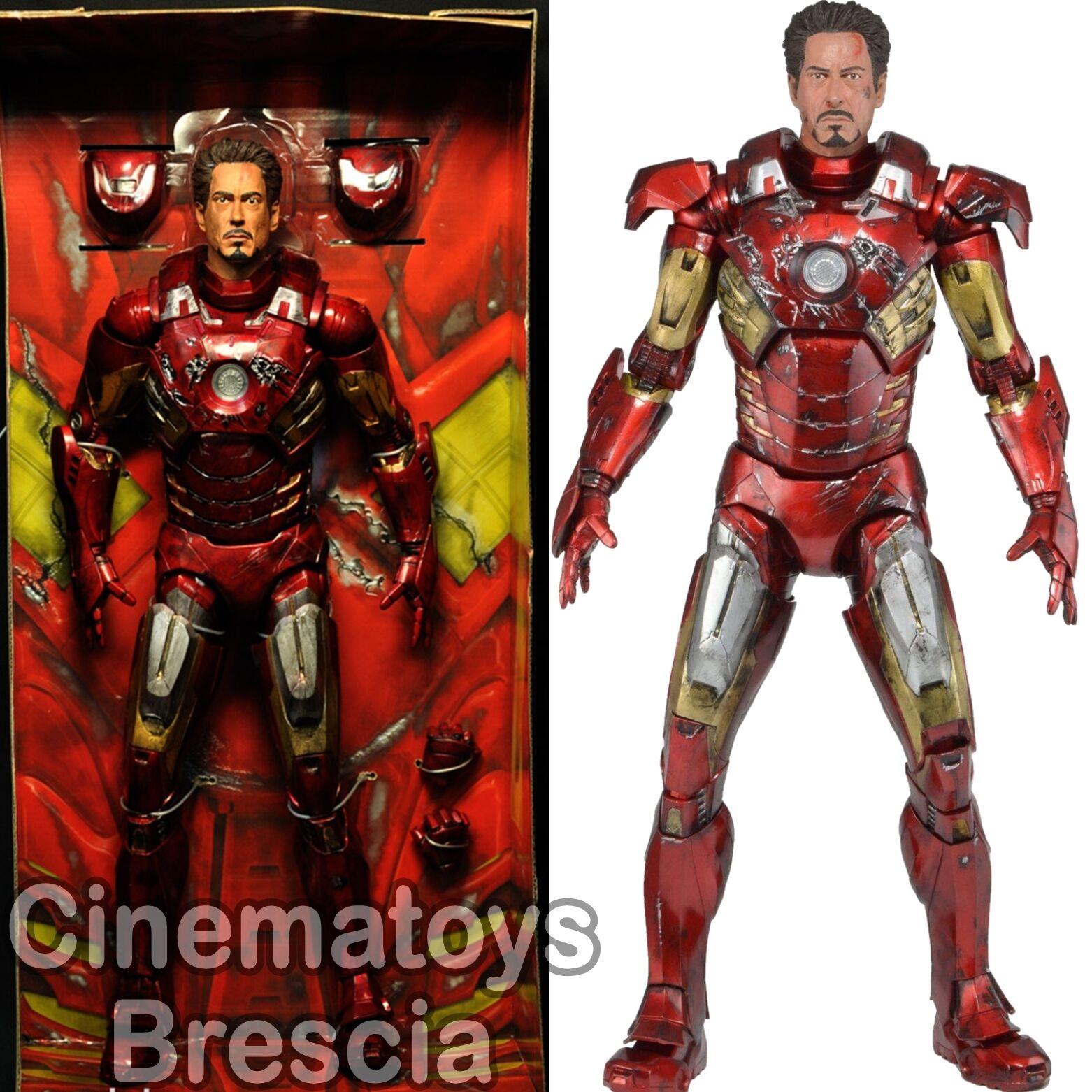 MARVEL The Avengers 1/4 Scale Action Figure Battle Damaged Eisen Mann w/LED NECA