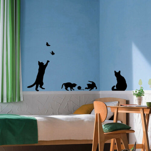 Removable Decoration Decals For Bedroom Cats Wall Sticker Cat Play Butterflies