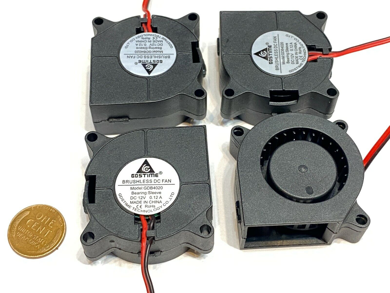 4 x 12V 40mm Blower Fan 4020 40mm x 20mm Turbo Cooling 3D Printer 2-pin B7
