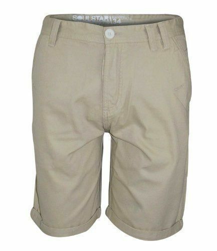 Mens Chino Shorts Cotton Summer Half Pants Casual Soul Star