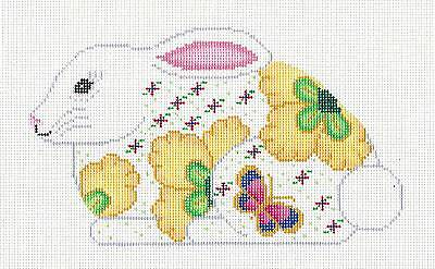 *NEW* Pink Rose Buds Bunny Rabbit handpainted Needlepoint Canvas Assoc.Talents