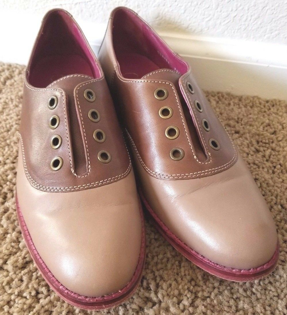 Cole Haan Oxford Two-Tone Brown Tan Pink Sole Women Women Women Size 7.5 B US 3fa718