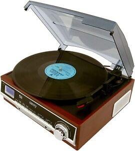 Giradischi Vinile RETRO' RADIO LEGNO Sveglia AUX Stereo Grammofono cassa inclusa