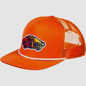 Vans Off The Wall Classic Patch Plus Snapback Orange Trucker Hat Cap ... 77cfb39e723