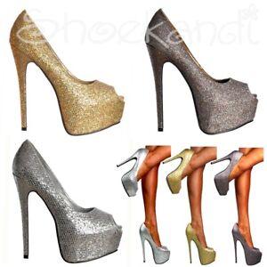 db6d656c031550 Ladies Sparkly Glitter Peep Toe Stiletto Party Prom Platform High ...