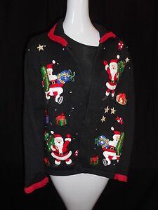 Collectibles Santas Christmas Black Ugly Knit Donna Heirloom Lg Maglione Holiday HqSdBwHFx