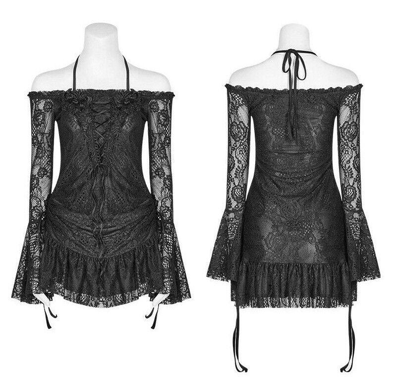 Punk Rave WT-552 Gothic off-shoulders lace shirt with 3D floral embellishments