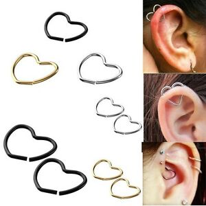 18g-Steel-Heart-Fake-Nose-Lip-Captive-Hoop-Ring-Clip-on-Helix-Cartilage-Earrings
