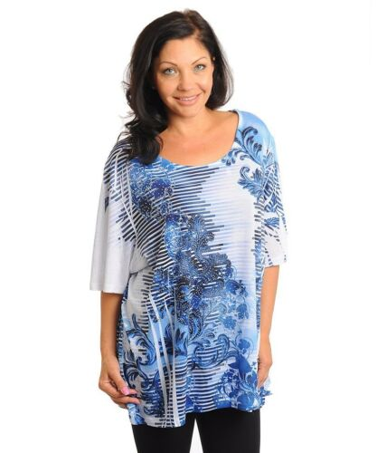 5X-34-36W 4X-30-32W Womens Plus Top Blouse Shirt Sublimation Rhinestone 3X-26W