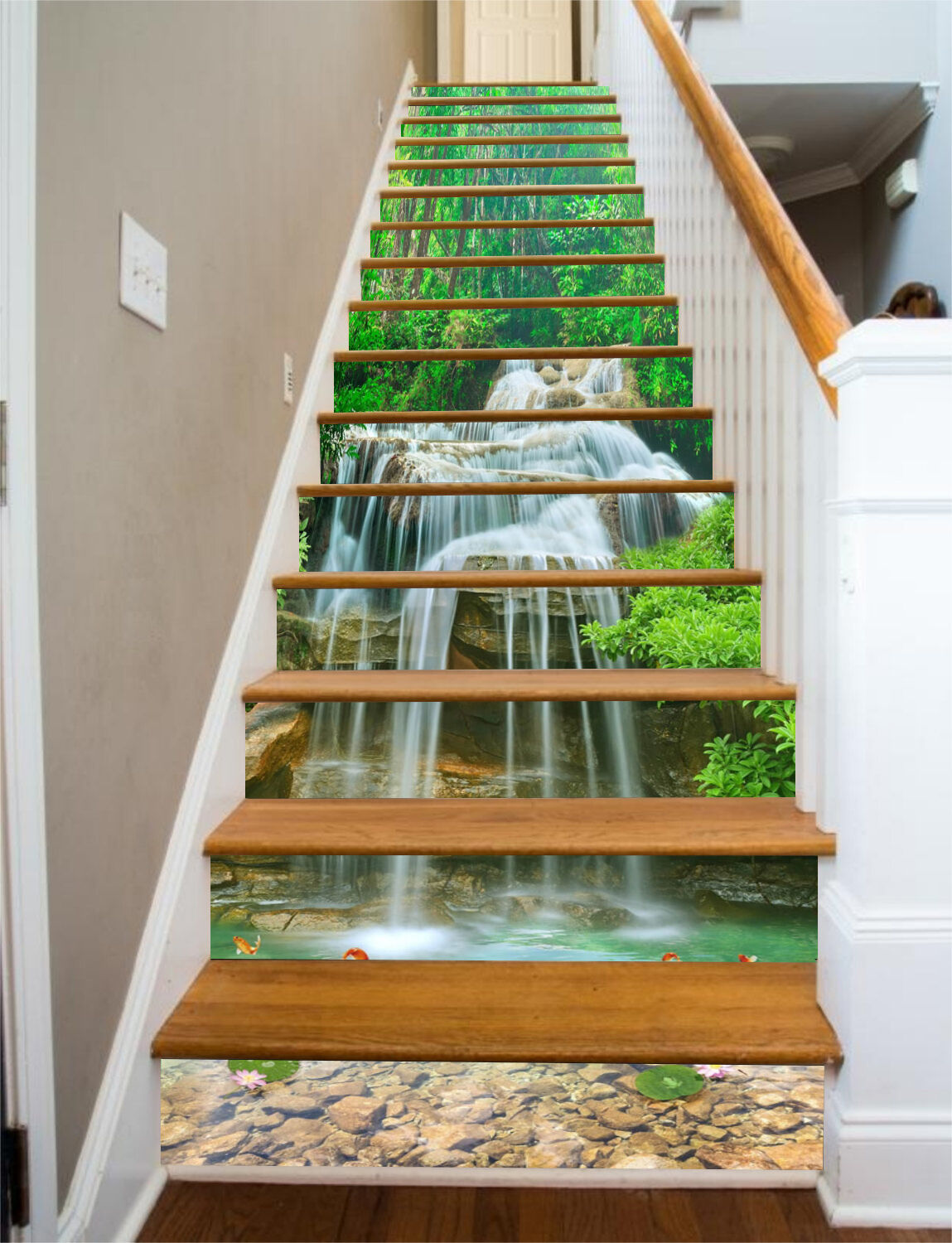 3D Water pond tree Stair Risers Decoration Photo Mural Vinyl Decal Wallpaper AU