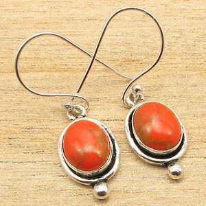 1-Pair-HANDMADE-Earrings-ORANGE-COPPER-TURQUOISE-Silver-Plated-Girls-Jewelry