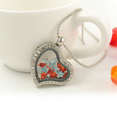 New Heart/Round Crystal Silver/Gold Floating Charm Memory living Locket Necklace