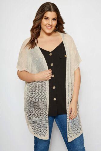 Yours Clothing Women/'s Plus Size Nude Crochet Effect Cardigan