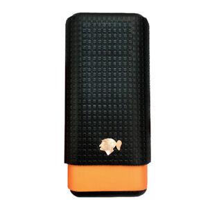 COHIBA-Black-amp-Yellow-Leather-Lined-Cedar-Wood-3-Tube-Travel-Cigar-Case-Humidor