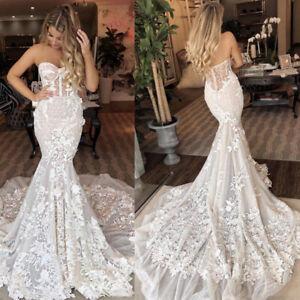 Beach Wedding Dresses Lace Mermaid Bridal Gowns Appliques Sweetheart Long Train Ebay
