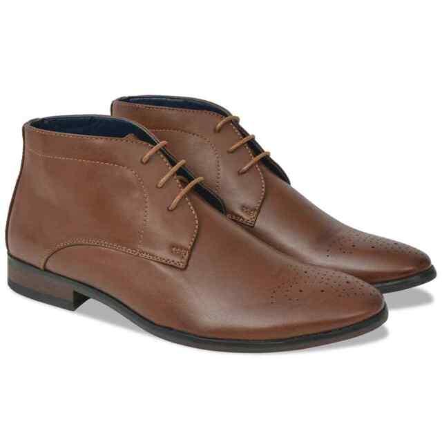 vidaXL Bottines à lacets chaussures pour hommes Marron Pointure 41 Cuir PU