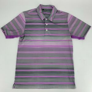 Adidas-Climacool-Mens-Golf-Shirt-Size-S-Polo-Short-Sleeve-Purple-Black-Stripe-N8