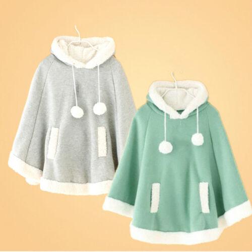 Women Girls Cute Cloak Coat Winter Warm Fleece Hooded Cape Jacket Poncho Kawaii