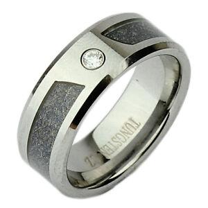 Nickelfrei Wolfram Ring Hochglanz Poliert Zweifarbig Cz 8mm Ehering