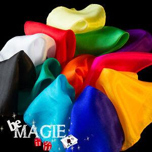 12 Foulards 15 x 15 cm - Assortiment de couleur  - 100 % Soie - Tour de magie